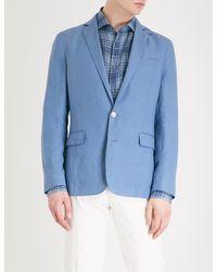 Ralph Lauren Purple Label Blue Hadley Regular-fit Linen Jacket for men