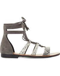 Dune - Gray Lagunaa Reptile-embossed Leather Sandals - Lyst