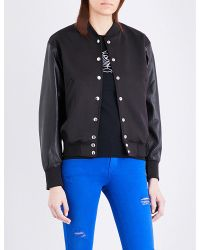 DIESEL - Blue L-floryan Leather And Neoprene Bomber Jacket - Lyst