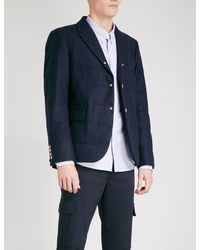 Moncler Gamme Bleu Blue Padded Wool-flannel Down Blazer for men
