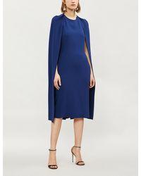 13e71450114d Stella McCartney Fitted Crepe Cape Dress in Blue - Lyst