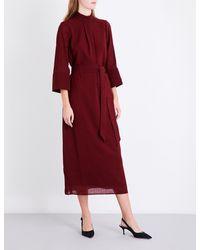 Cefinn - Red Funnel Neck Gauze Midi Dress - Lyst