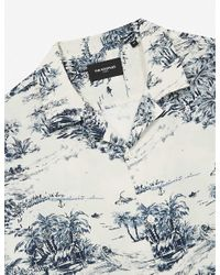 The Kooples Blue Graphic-print Woven Shirt for men