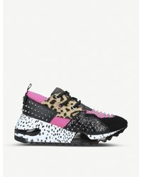 Steve Madden Multicolor Cliff Leather And Mesh Wedge Trainers