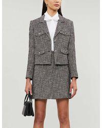 Claudie Pierlot Gray Seth High-waist Cotton-blend Mini Skirt