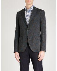 Etro Blue Paisley-print Regular-fit Cotton-jersey Jacket for men