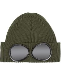 C P Company | Green Goggle Knitted Cotton Beanie for Men | Lyst