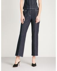 Mugler Blue Topstitched Cropped Straight High-rise Jeans