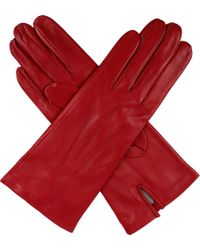 Dents Pink Hand-Sewn Silk-Lined Leather Gloves - For Women
