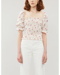 Reformation Multicolor Clementine Ruched Floral-print Linen Top
