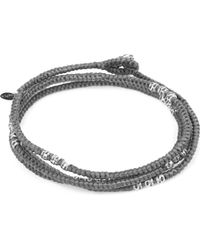 M. Cohen - Gray Knotted 4 Layer Thai Stamp Wrap Bracelet for Men - Lyst