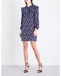 Sandro Blue Paisley-print Gathered-trims Silk Dress