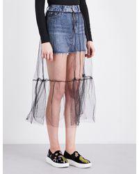 TOPSHOP Blue Tulle-overlay Denim Skirt