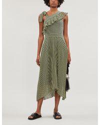 Whistles Black Erin Ruffle-trimmed Gingham Crepe Dress