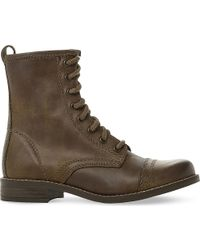 Steve Madden | Brown Charrie Leather Biker Boots | Lyst