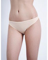 Hanro   Natural Ultralight Cotton Thong   Lyst