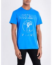 Moschino Blue Logo-print Cotton-jersey T-shirt for men