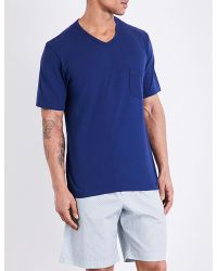 Hanro | Blue Cotton V-neck T-shirt for Men | Lyst