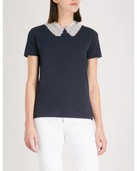 Sandro Blue Peter Pan Collar T-shirt