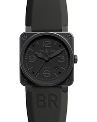 Bell & Ross Black Br0392 Aviation Pvd Coated And Rubber Watch - For Men for men