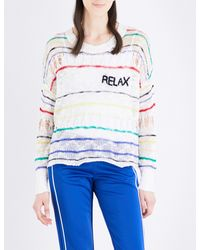 Wildfox | White Relax Striped Open-knit Jumper | Lyst