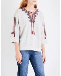 Whistles Gray Embroidered Cotton-jersey Sweatshirt