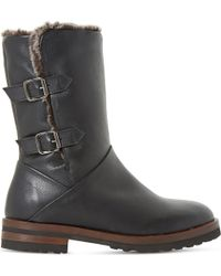 Dune Black Raylan Faux-fur Lined Leather Boots