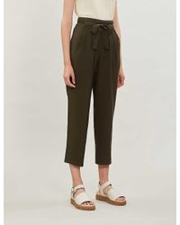 Whistles Green Belted High-rise Woven Trousers
