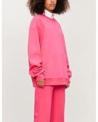 ADER ERROR Pink Logo-embroidered Cotton-blend Sweatshirt