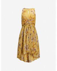 Ted Baker Yellow Cabana Fabulas Pleated Crepe Midi Dress