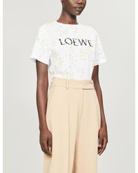 Loewe White Branded Floral-print Cotton-jersey T-shirt