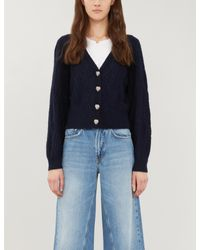The Kooples Blue Diamond Chunky-knitted Cardigan