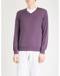 Brunello Cucinelli - Purple V-neck Wool And Cashmere Jumper for Men - Lyst