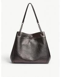 COACH Black Turnlock Edie Grained Leather Shoulder Bag