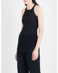 Rick Owens | Black Raw Curved Hem Knitted Top | Lyst