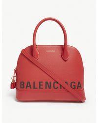 Balenciaga Ladies Red Modern Ville Leather Top Handle Bag