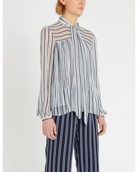 MICHAEL Michael Kors Blue Neck-tie Striped Chiffon Blouse