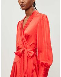 Zimmermann Red Wrap-over Silk Mini Dress