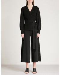 See By Chloé Black Zigzag-knit Cotton And Linen-blend Wrap Cardigan