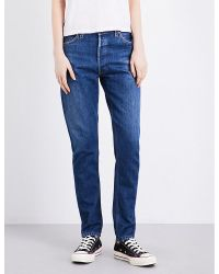 RE/DONE | Blue Straight High-rise Jeans | Lyst
