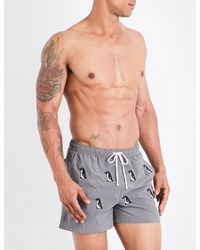 Thom Browne - Gray Penguin-print Swim Shorts for Men - Lyst
