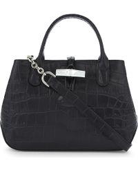 Longchamp | Black Roseau Crocodile-embossed Leather Tote | Lyst