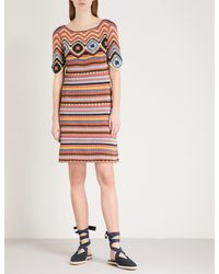 See By Chloé Red Striped Crotchet-knit Cotton Dress