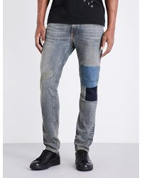 Nudie Jeans Blue Lean Dean Mirror Patch Regular-fit Tapered Jeans for men