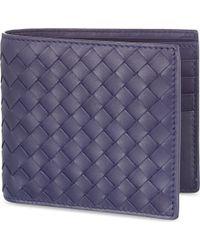 Bottega Veneta - Blue Intrecciato Leather Wallet - Lyst