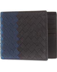 Bottega Veneta - Black Intrecciato Woven Leather Billfold - Lyst