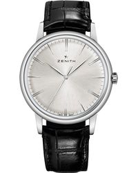 Zenith Metallic 032270615001c493 Elite Automatic Stainless Steel And Leather Strap Watch for men