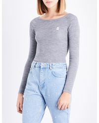 Claudie Pierlot - Blue Embroidered-logo Ribbed Wool Jumper - Lyst