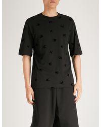 McQ Alexander McQueen Black Swallow-print Cotton-jersey T-shirt for men