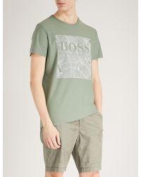 BOSS Orange Green Leaf-print Cotton-jersey T-shirt for men